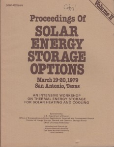 Solar Energy Storage Options Volume 2