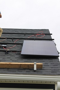 First solar panel in place