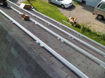 Installing rails on the garage roof