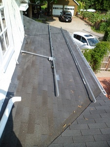 Conduit work on the porch roof