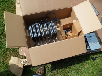 Box of inverters and hardware for the roof