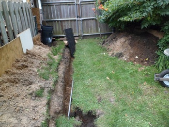 Trench for the garage power