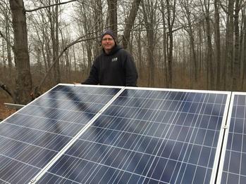 Happy solar installer