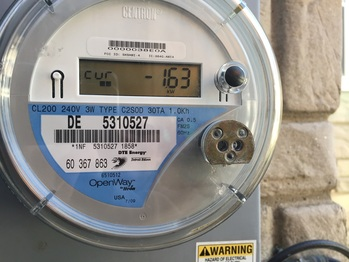 Utility meter showing a negative current