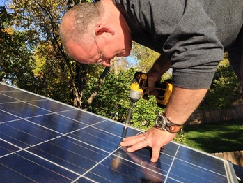 Bolting down a solar panel