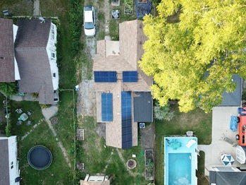 Aerial view of solar installation