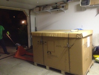 Solar panels delivered to the garage