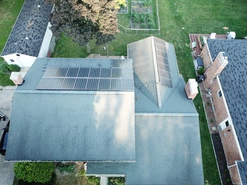 Aerial view of the solar installation