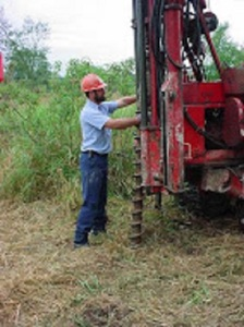 Drilling a soil sample