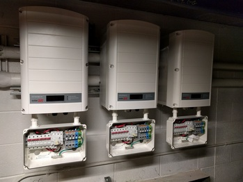 Three inverters ready to be wired