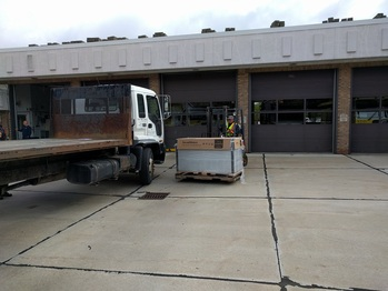 Unloading the solar panels