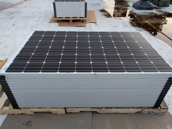 Panels on the roof ready to install