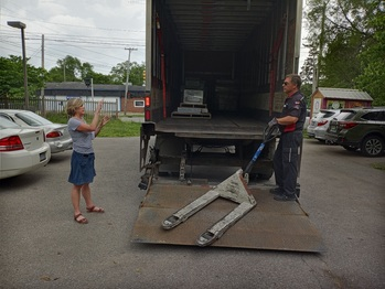 Truck dropping off the parts