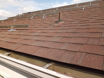 Flashing and rails on the North roof