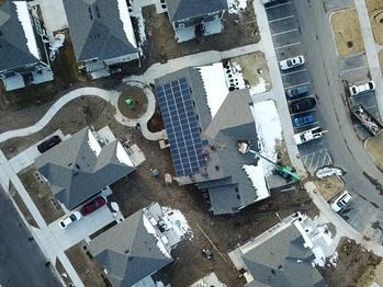 Solar installation with surrounding neighborhood