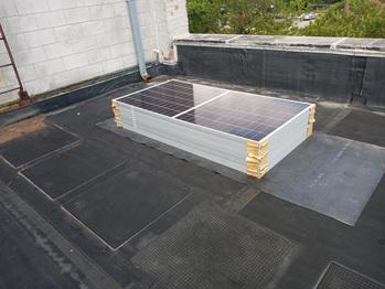 Solar panels on lower roof