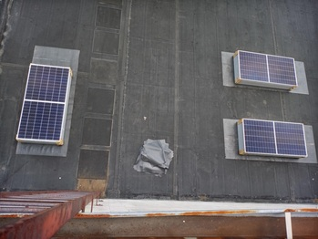 Solar panels on the lower roof