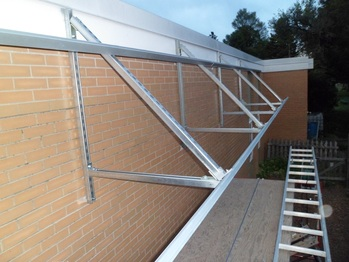 Rails for solar awning
