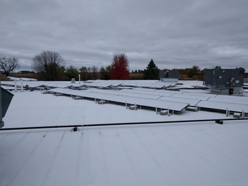 Snow covered solar panels