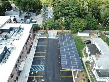Aerial view of the solar carport