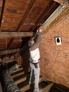 Running the ground wire in the attic